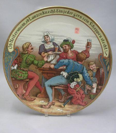 Villeroy & Boch/Mettlach Transfer Tavern Scene Decorated Ceramic Plaque