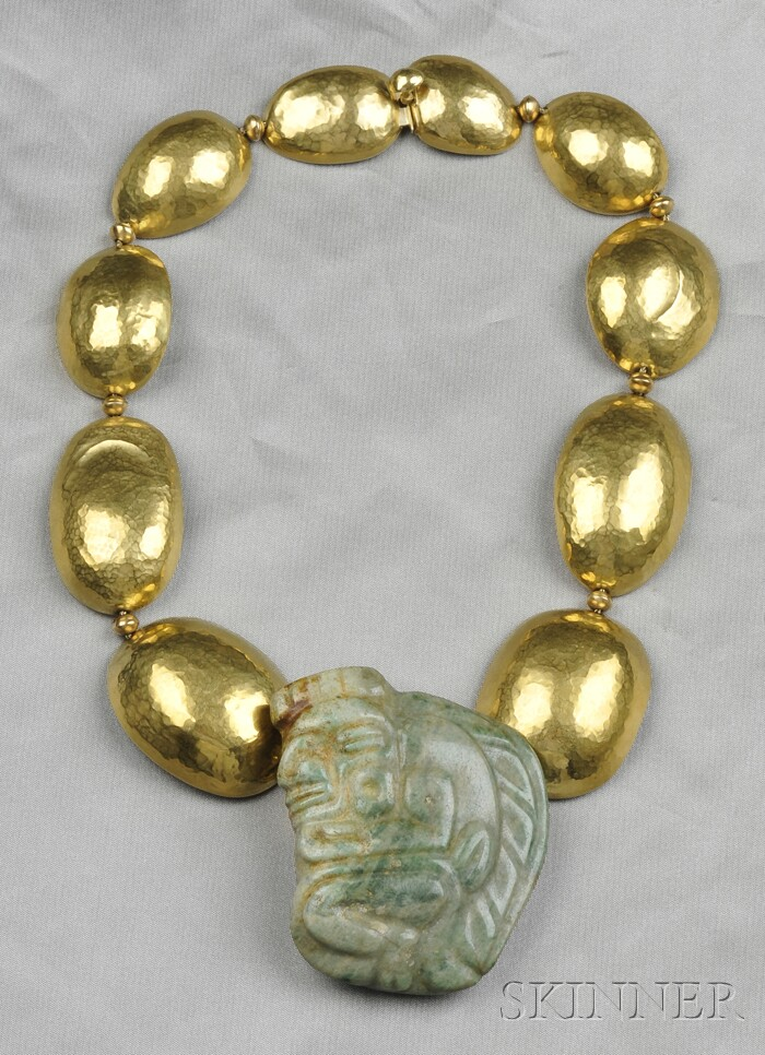 18kt Gold and Jade Amulet Necklace, Margret Craver