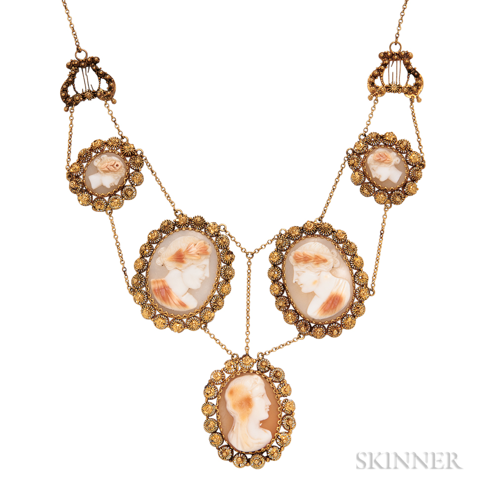 Gold and Shell Cameo Necklace