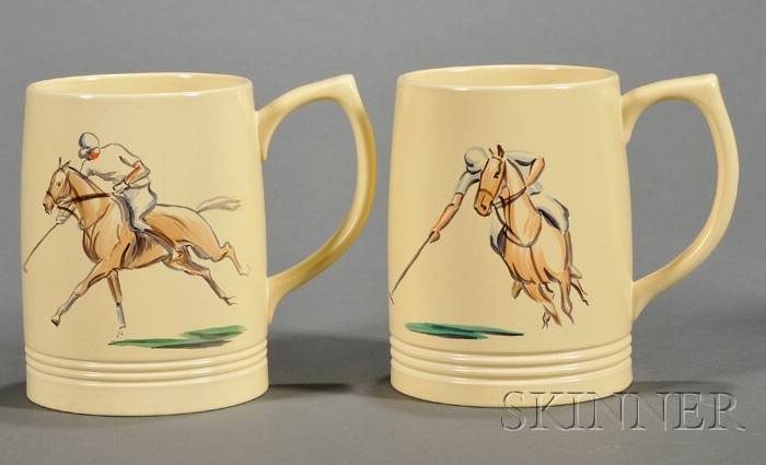 Two Wedgwood Hand-painted Keith Murray Mugs