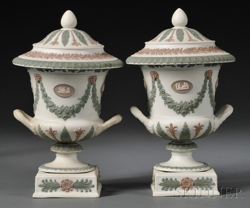 Pair of Wedgwood Three-color Jasper Vases and Covers