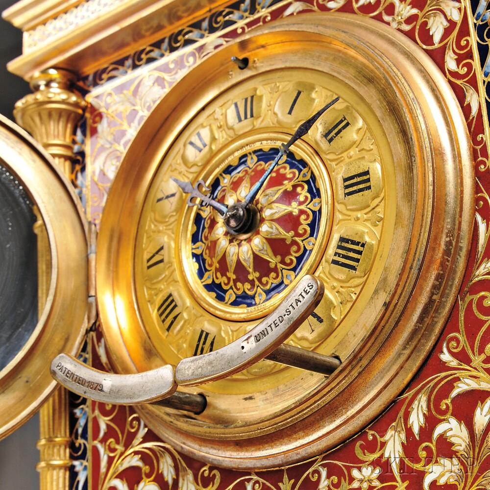 Etienne Maxant Champleve and Gilt Bronze Shelf Clock