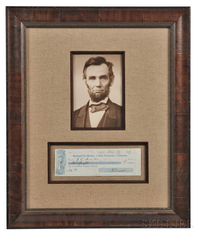 Lincoln, Abraham (1809-1865) Check Signed, 19 January 1859.
