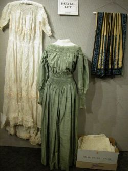 Edwardian-style Green Silk Dress, a Chinese Embroidered Skirt, Assorted White Cotton Garments and a Linen Tablecloth.
