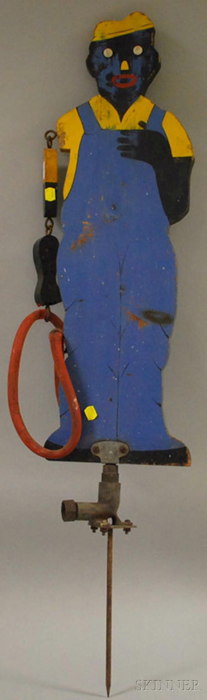 Painted Wooden Black Gardener and Hose Sprinkler Figure