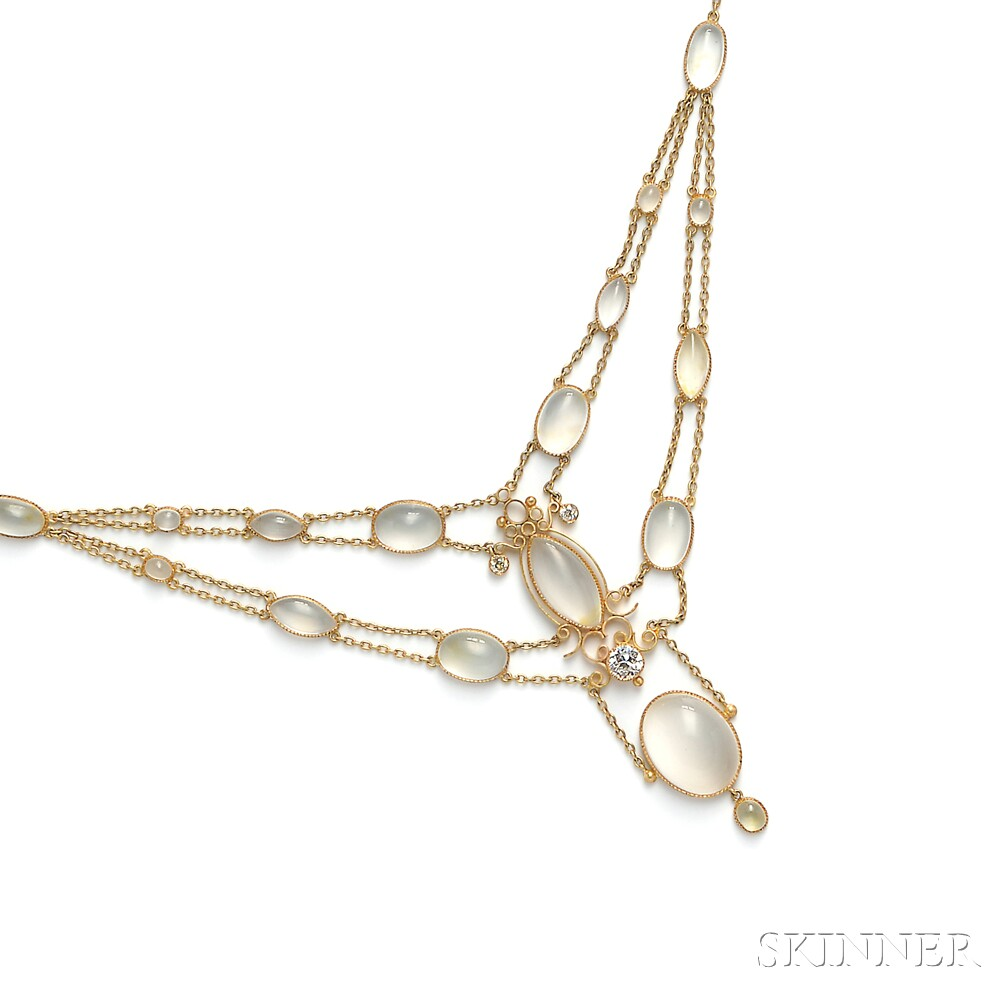 18kt Gold, Moonstone, and Diamond Necklace