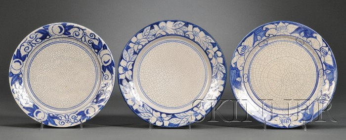 Three Dedham Pottery Dinner Plates