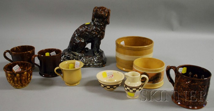 Ten Pieces of Assorted Yellowware and Glazed Stoneware