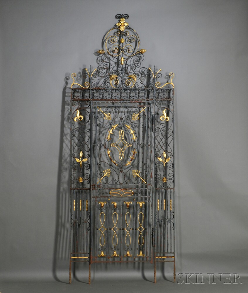 Large Rococo Wrought Iron Painted and Gilded Gate