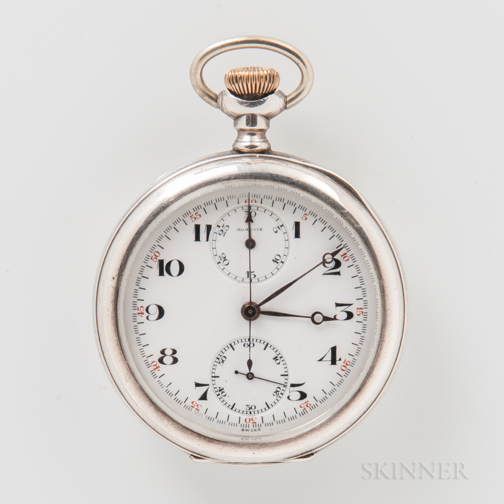 Agassiz Sterling Silver Open-face Pocket Chronograph