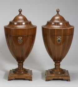 Pair of Georgian-style Mahogany and Inlay Cutlery Urns
