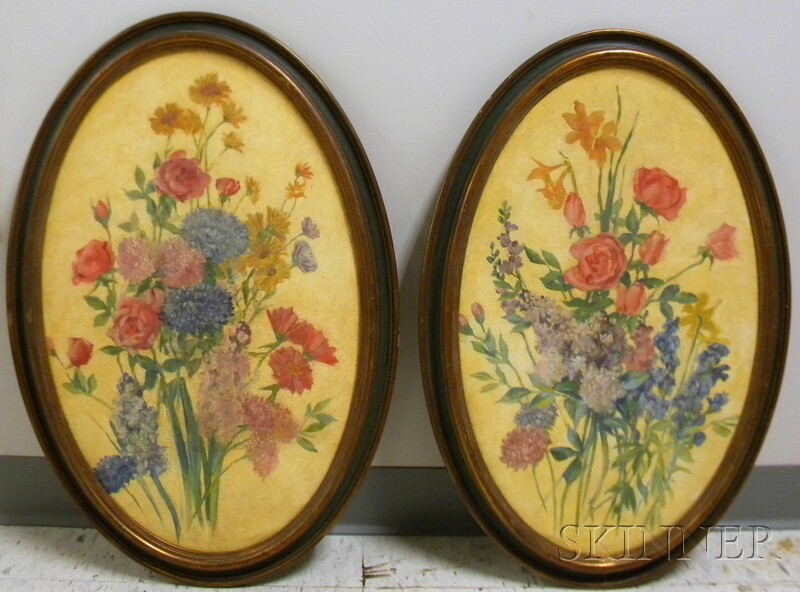 Pair of 20th Century American School Oval Format Oil on Canvas Works Depicting   Floral Bouquets