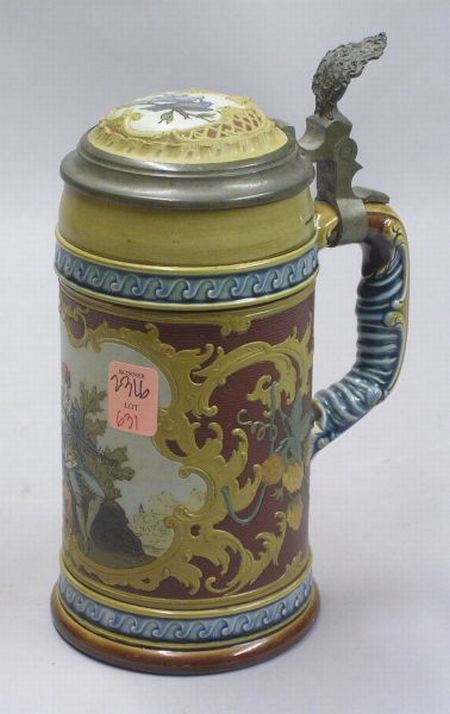 Mettlach Etched Courting Scene Decorated Lidded Stoneware Stein