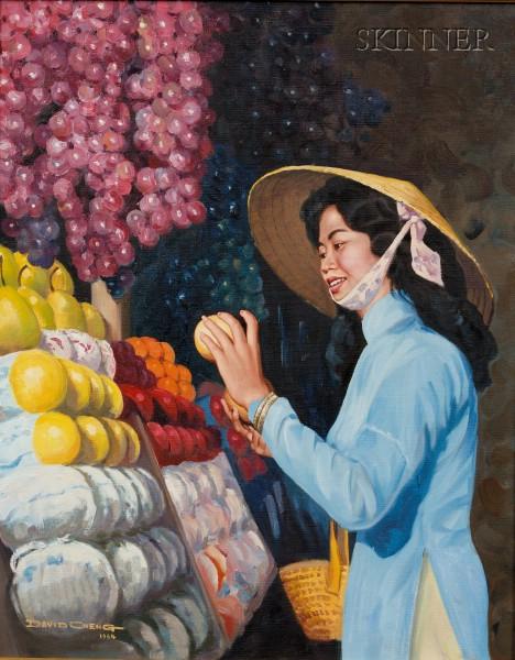 David Cheng (American, 20th Century)      At the Market