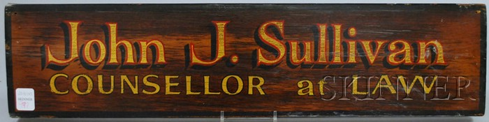 """Painted and Gilded Wood """"John J. Sullivan COUNCELLOR at LAW"""" Trade Sign"""