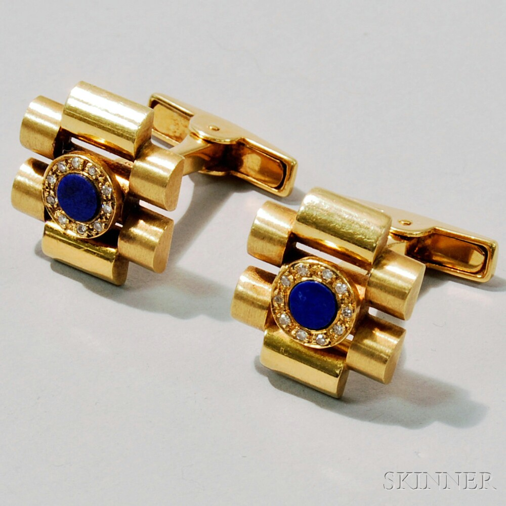 Pair of 18kt Gold, Lapis, and Diamond Cuff Links