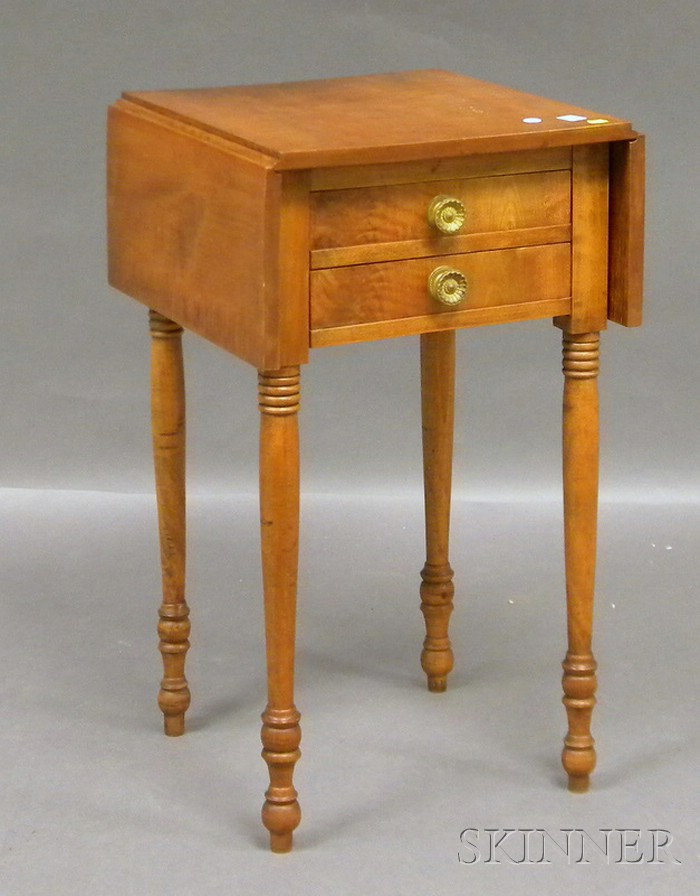 Tiger Maple and Birch Drop-leaf Two-drawer Work Table.