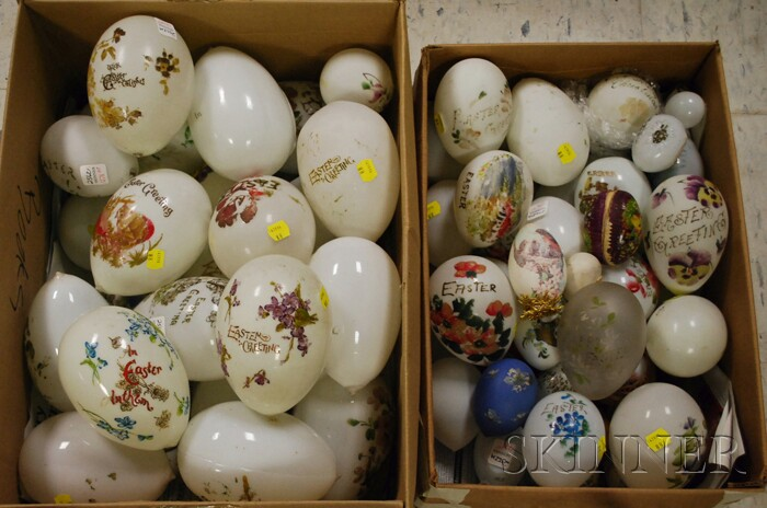 Collection of Late Victorian Hand-painted Opaque Glass Eggs and Other Assorted   Eggs