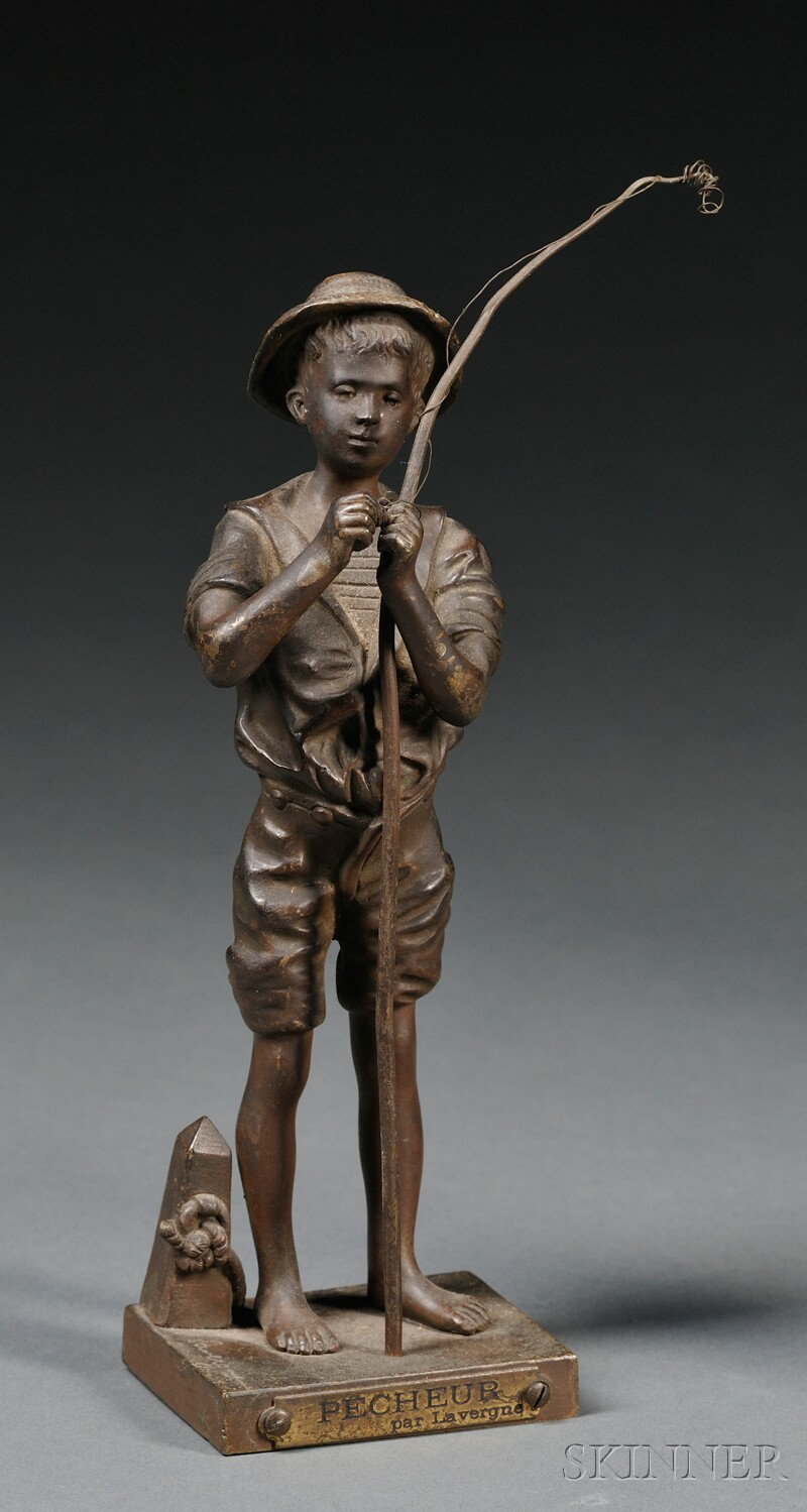 After Adolphe Jean Lavergne (French, 1852-1901)      Pecheur  /A Young Boy with a Fishing Pole