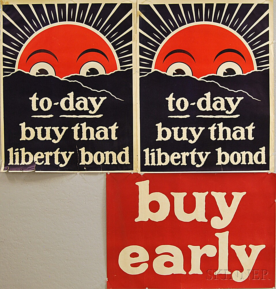 Two To-day buy that liberty bond   WWI Lithograph Posters