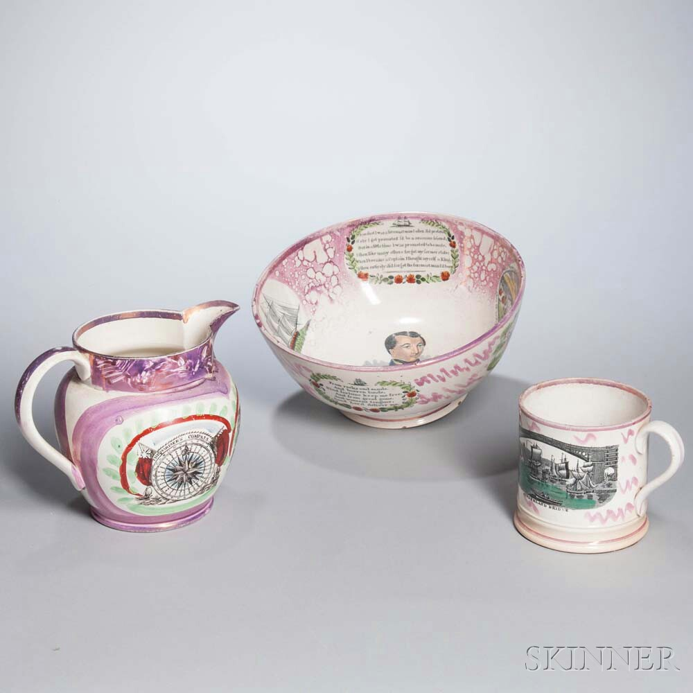 Three Staffordshire Transfer-decorated Pink Lusterware Table Items
