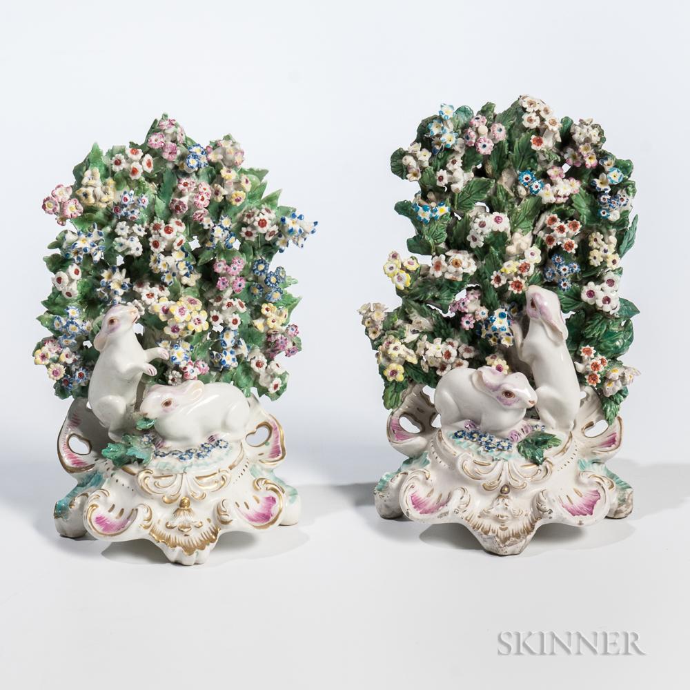 Pair of Chelsea/Bow-type Porcelain Mantel Rabbit Groups