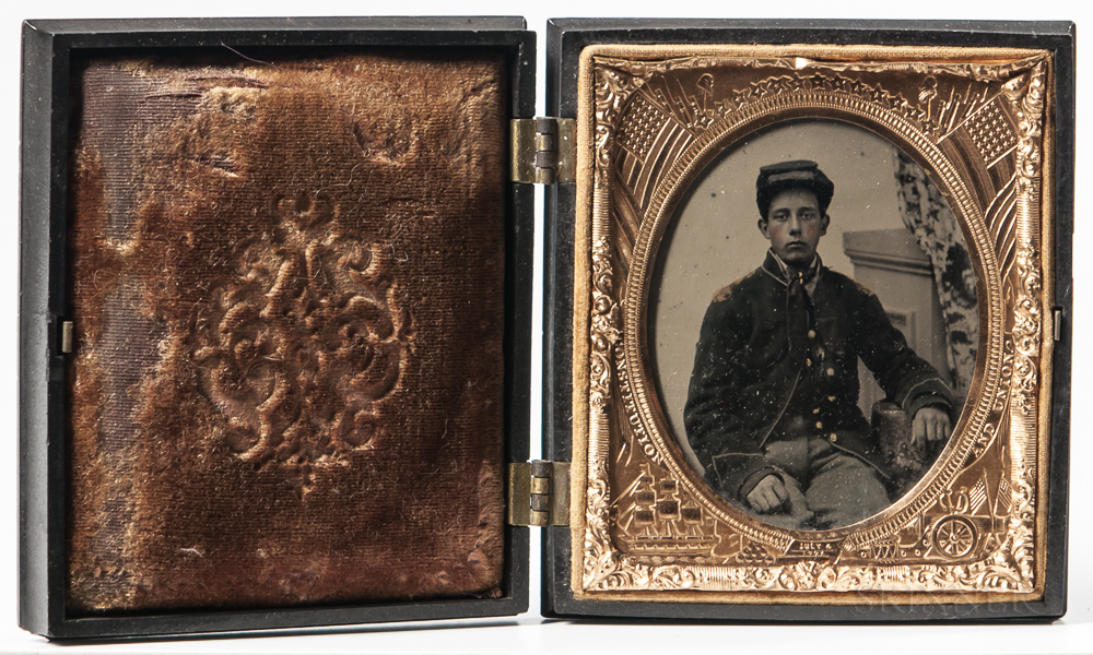 Sixth-plate Cased Ambrotype of a Young Union Infantry Soldier