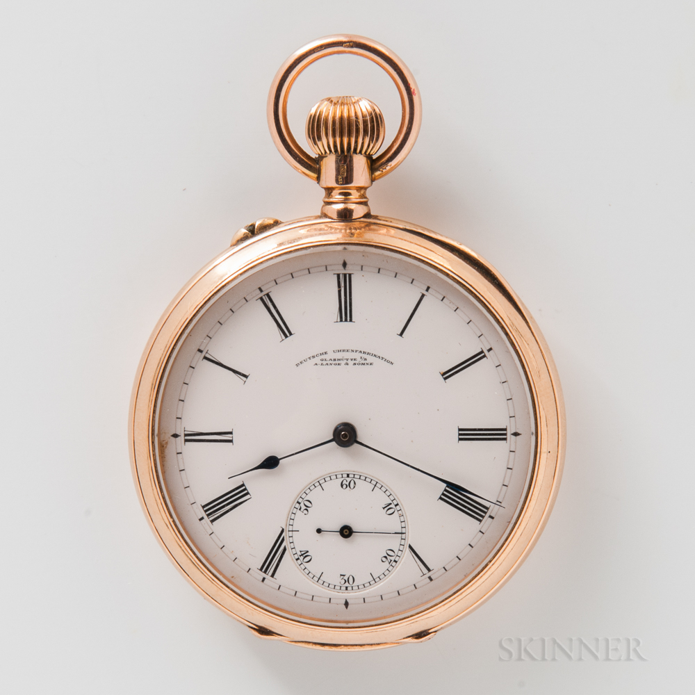 A. Lange & Sohne 14kt Gold Open-face Watch