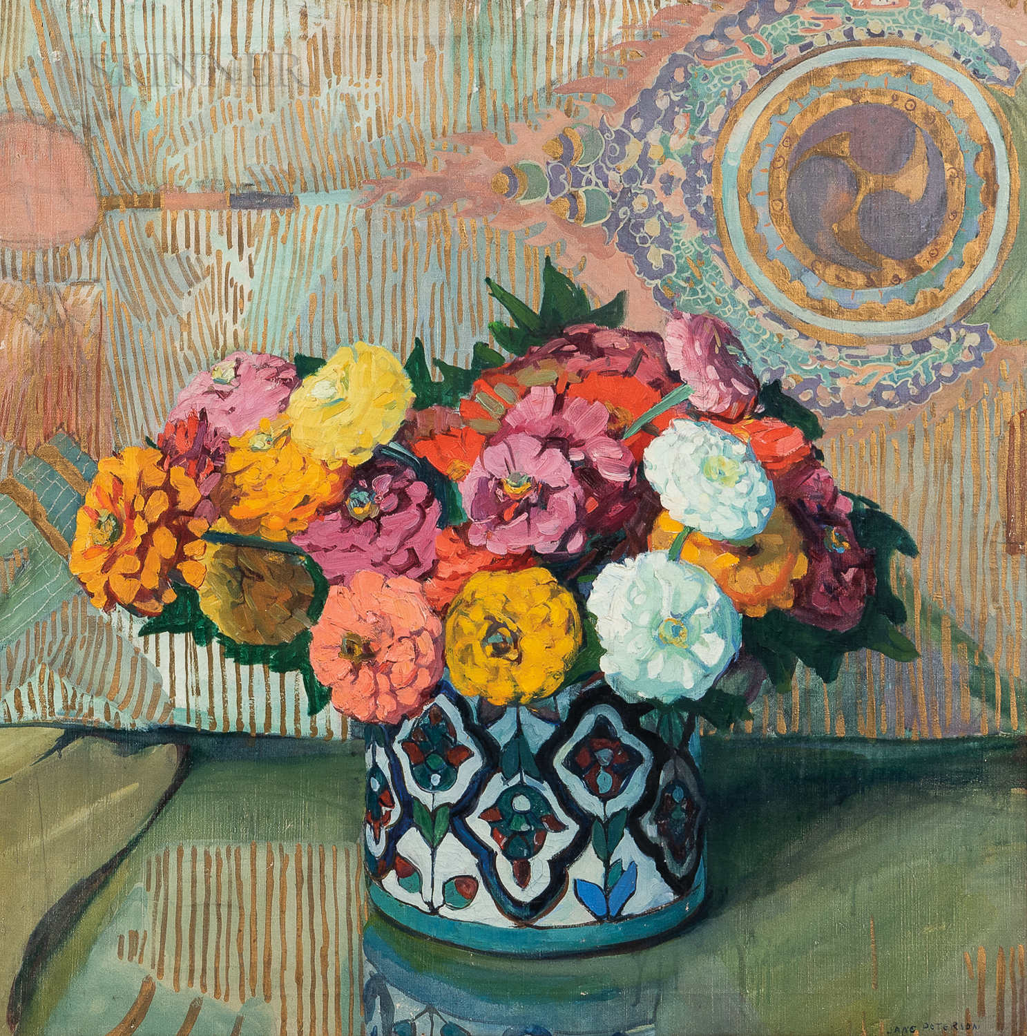 Jane Peterson (American, 1876-1965)      Zinnias in Persian Bowl with Chinese Background