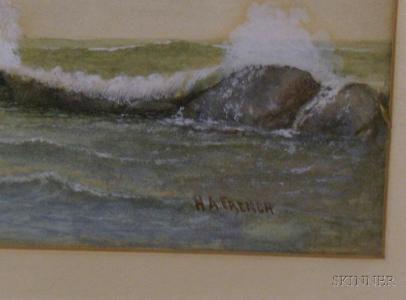 Framed Watercolor on Paper/board Coastal View with Crashing Surf