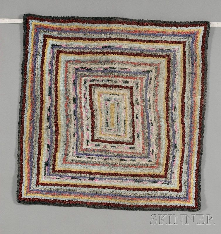 Two Wool and Cotton Geometric Hooked Rugs