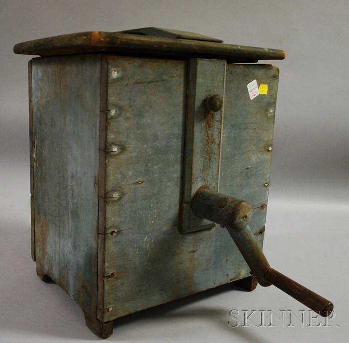Blue-painted Wood Countertop Box Churn.
