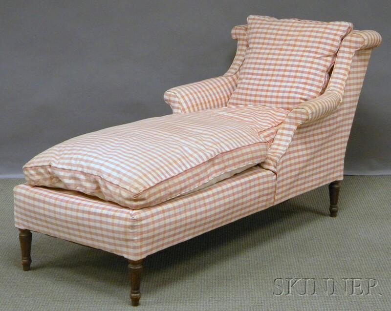 Louis XVI-style Upholstered Walnut Recamier.