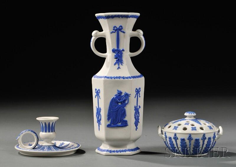 Three Wedgwood White Smear-glazed Items