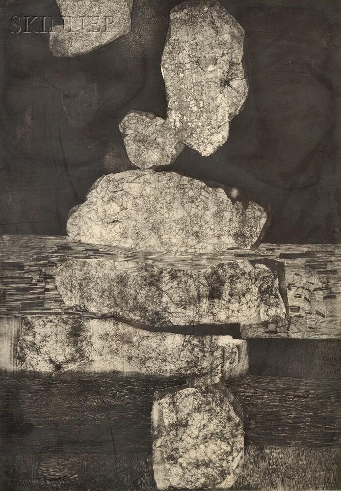 Gabor F. Peterdi (American, 1915-2001)      Vertical Rocks