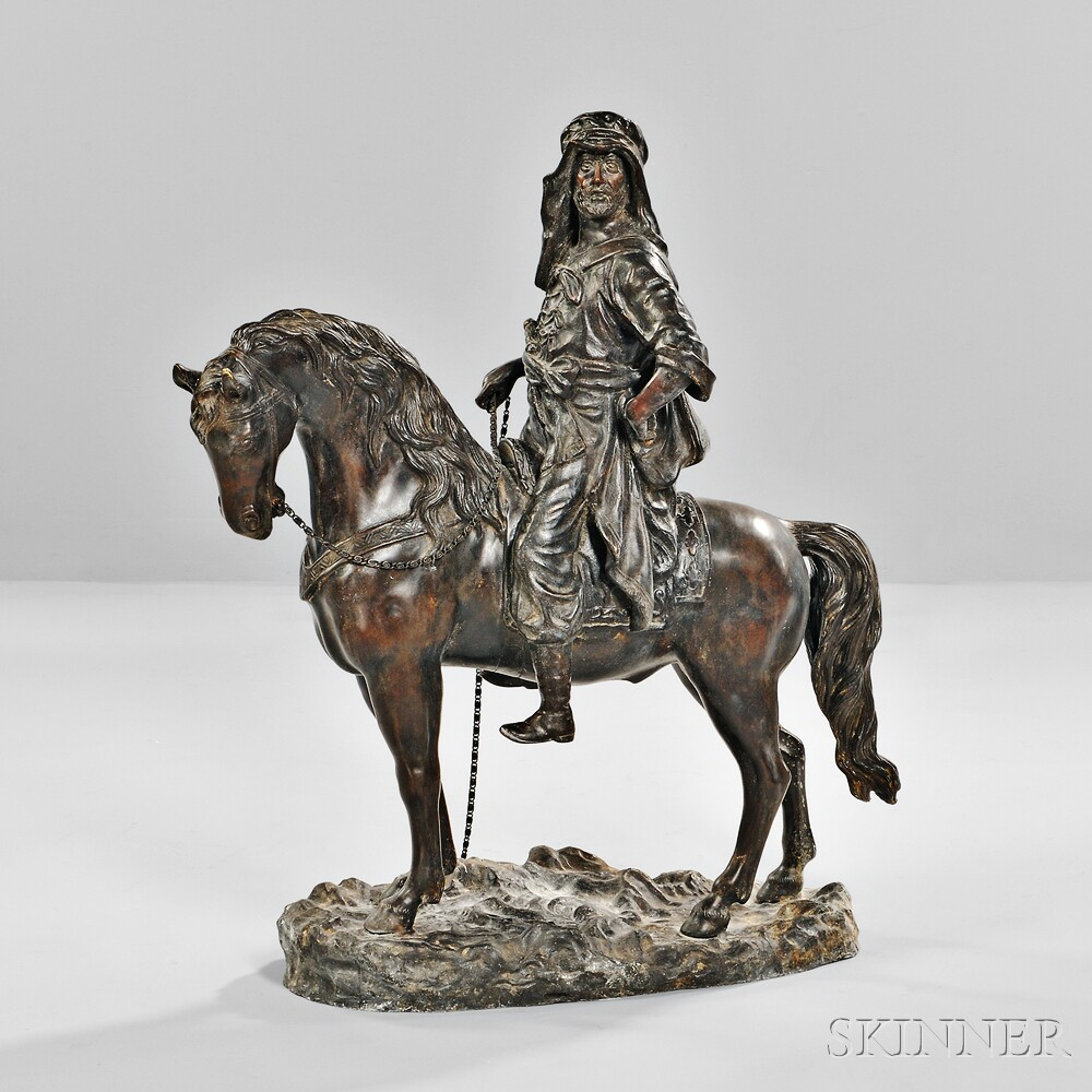 After Pierre Jules Mêne (French, 1810-1879)       Figure of an Arab on Horseback