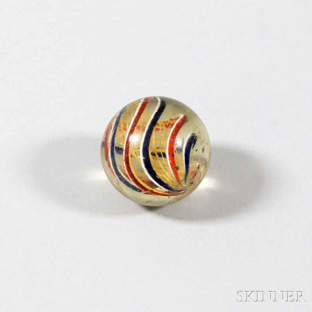 Two-inch Latticino Glass Marble.     Estimate $150-250