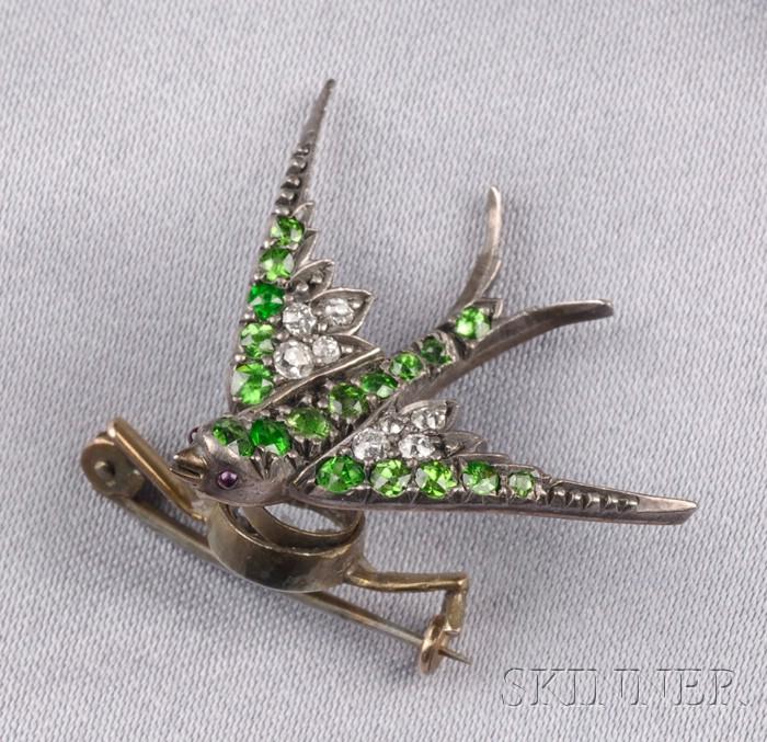Antique Demantoid Garnet and Diamond Swallow Brooch