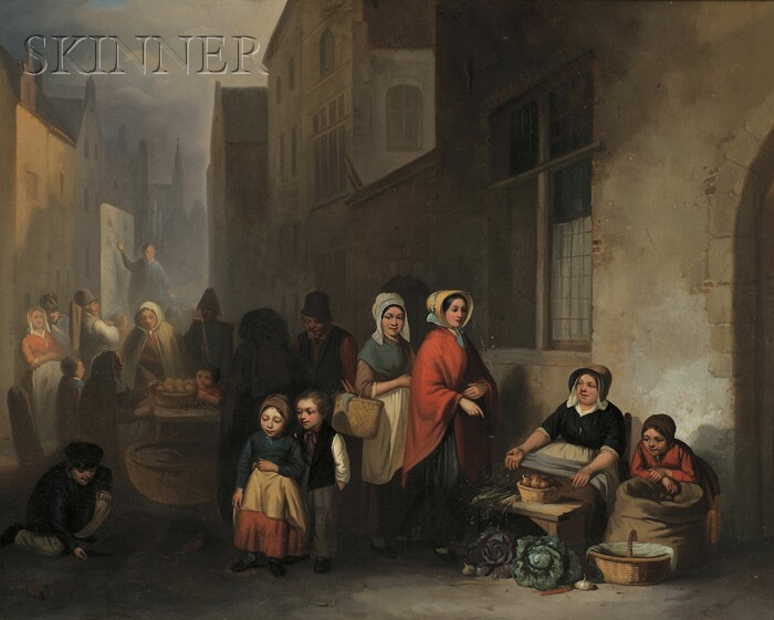 Virgile Cantineau (Belgian, 19th Century)      Scene with Market Vendors