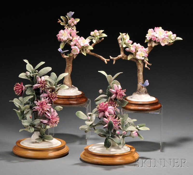 Two Pairs of Dorothy Doughty for Royal Worcester Bone China Botanical Specimens