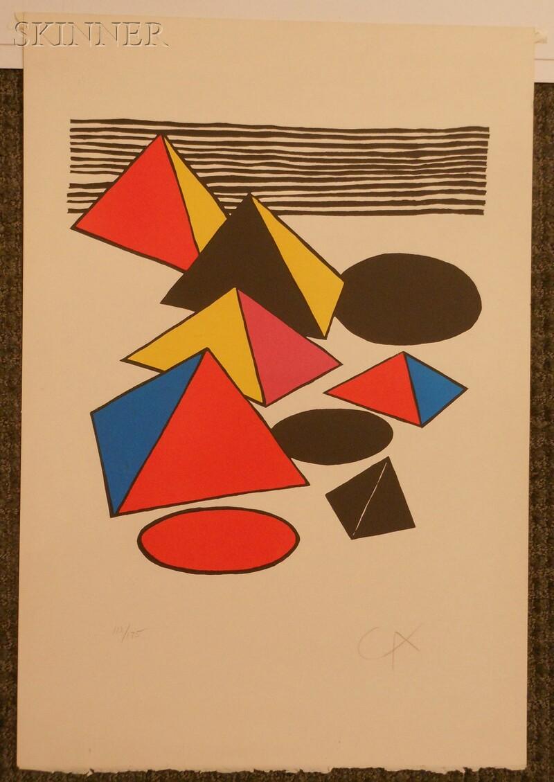 Alexander Calder (American, 1898-1976)      Untitled (Pyramids, Ovals, and Stripes)