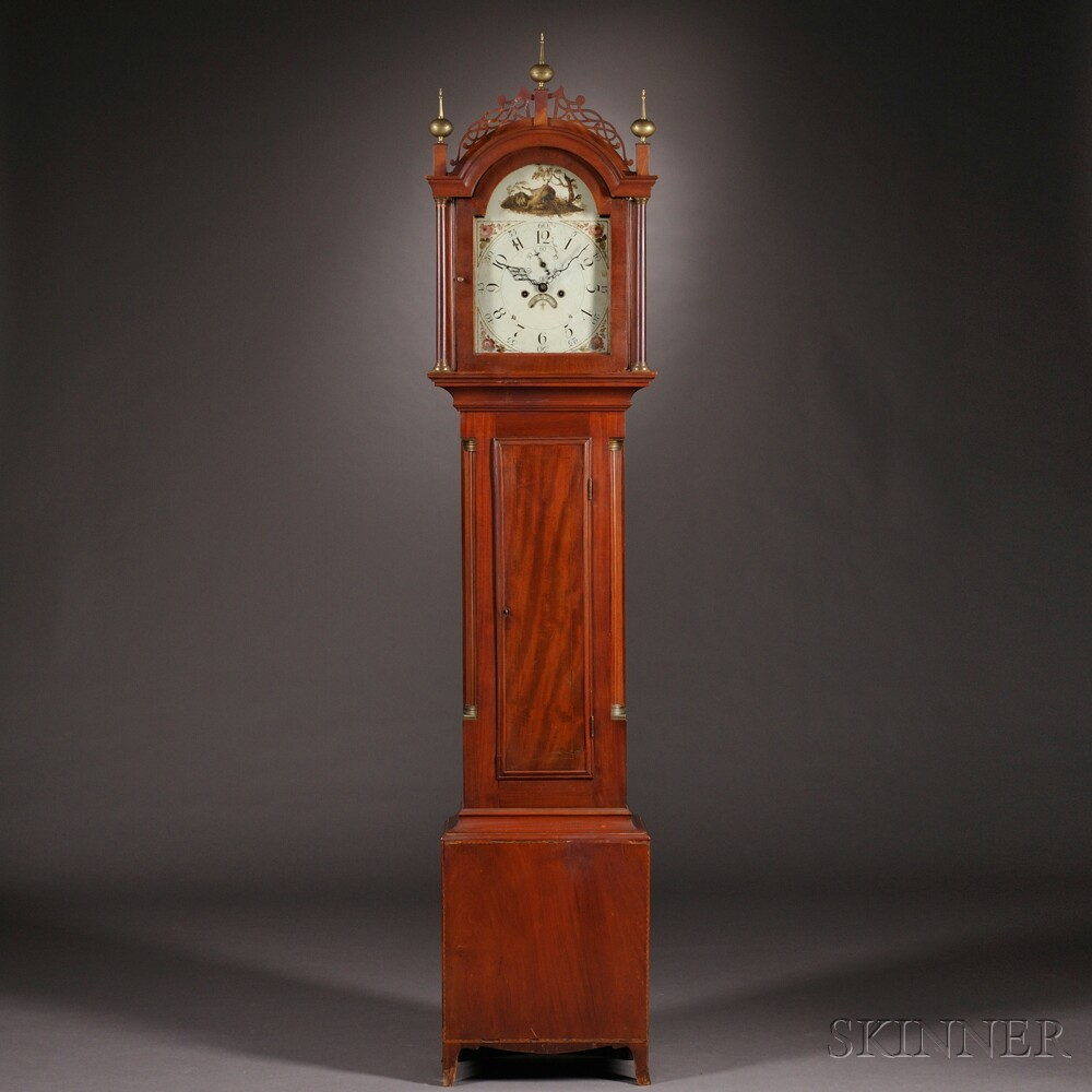 New England Mahogany Tall Clock