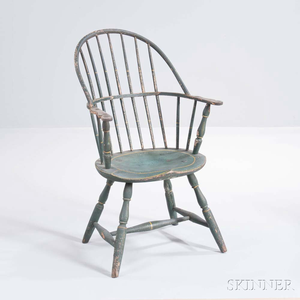 Green-painted Sack-back Windsor Chair