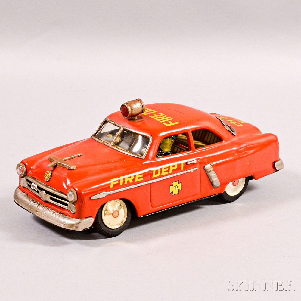 Marusan Kosuge Lithographed Tin Fire Chief Car