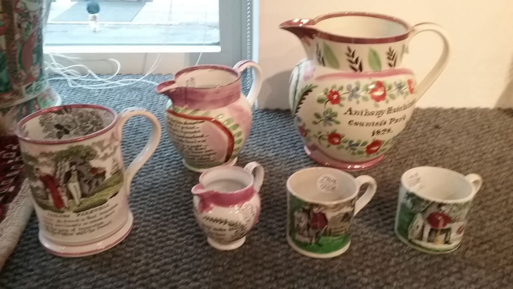 Four Staffordshire Transfer-decorated Pink Lusterware Table Items and Two Franklin's Maxims Mugs