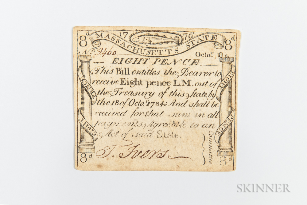 Massachusetts October 18, 1776 8 Pence, MA-226
