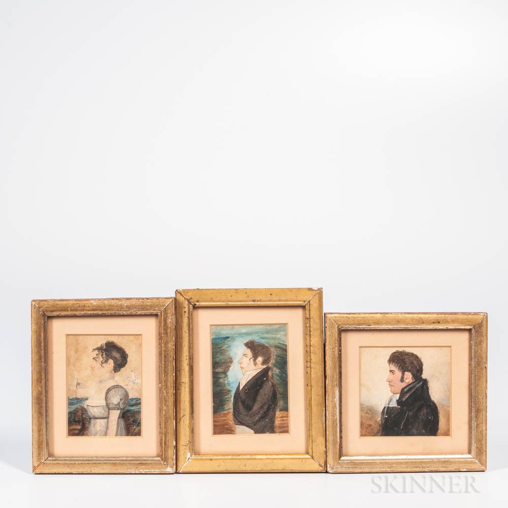 Alpheus Chapin (Massachusetts, 19th Century), Three Miniature Portraits: Horrace Billings Chapin, Sophia Chapin, and a Self Portrait, I