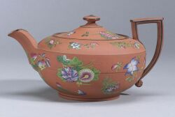 Wedgwood Enamel Decorated Rosso Antico Teapot and Cover