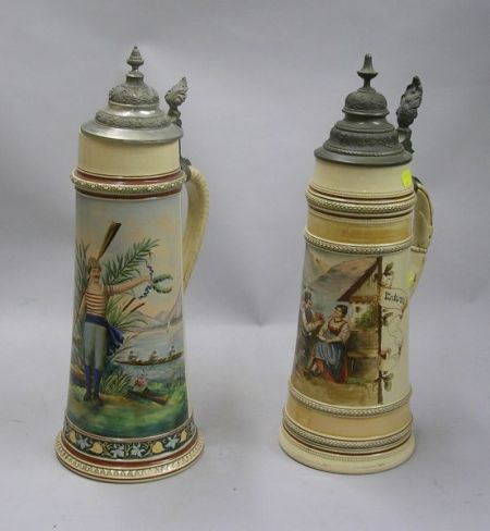 Two German Hand-painted Lidded Stoneware Steins