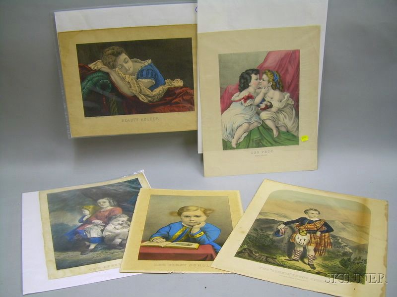Five Unframed Currier and Currier & Ives Hand-colored Lithograph Prints